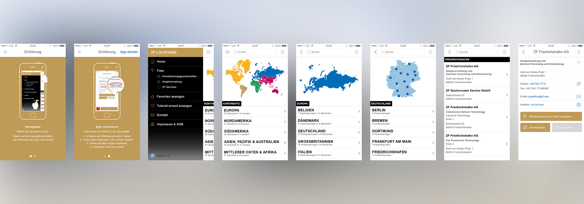 ZF Locations - iOS App (Smartphone)