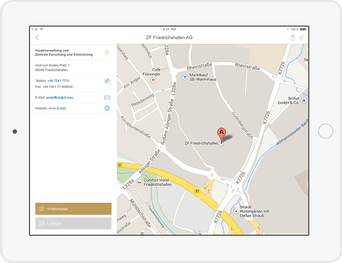 ZF Locations - iOS App (Tablet)